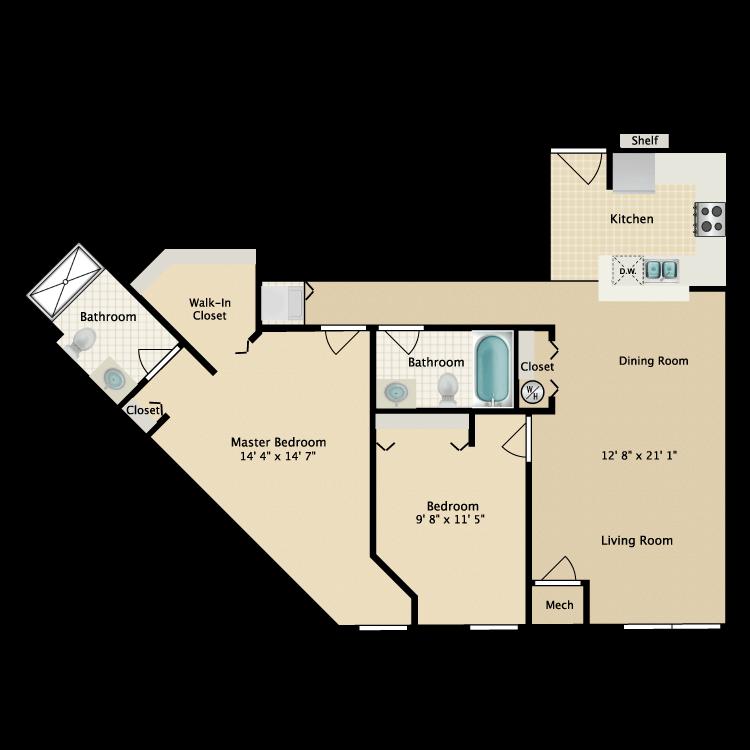 Floor plan image of Building 2-2H
