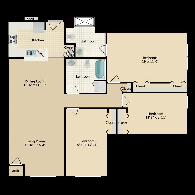 Floor plan image of Building 2-3B