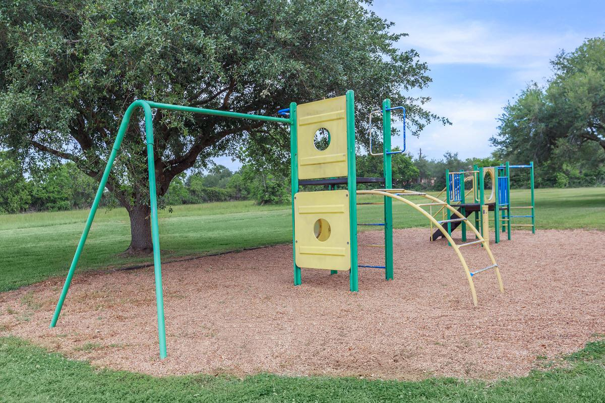 a playground in the grass
