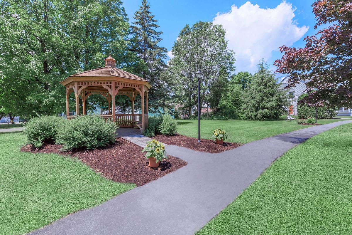 a small garden in a park