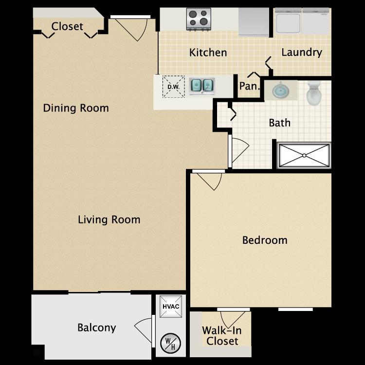 Floor plan image of 1 bed/1 bath