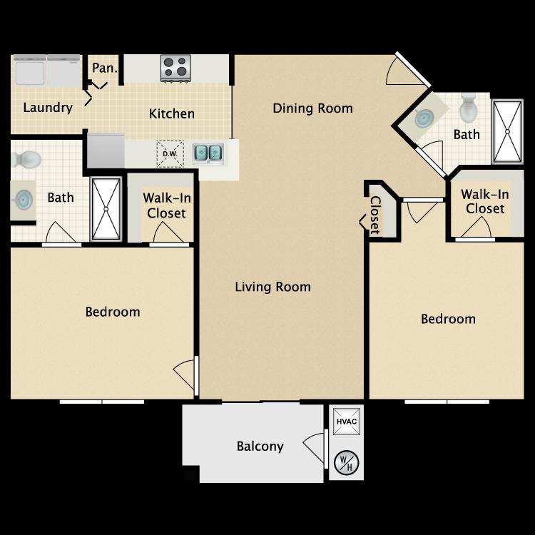 Floor plan image of 2 bed/2 bath
