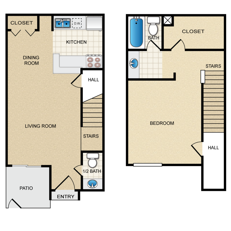1 Bed 1.5 Bath  floor plan image