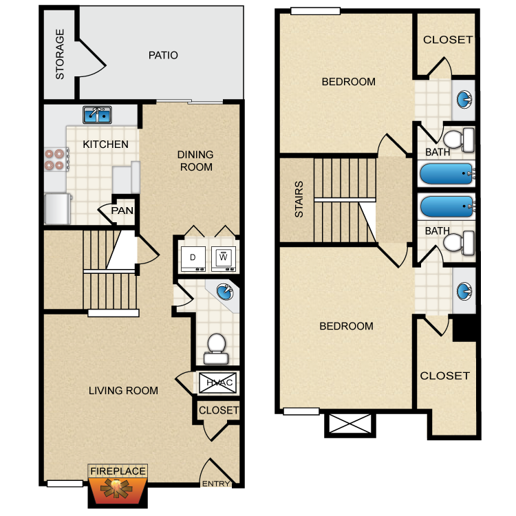 2 Bed 2.5 Bath floor plan image