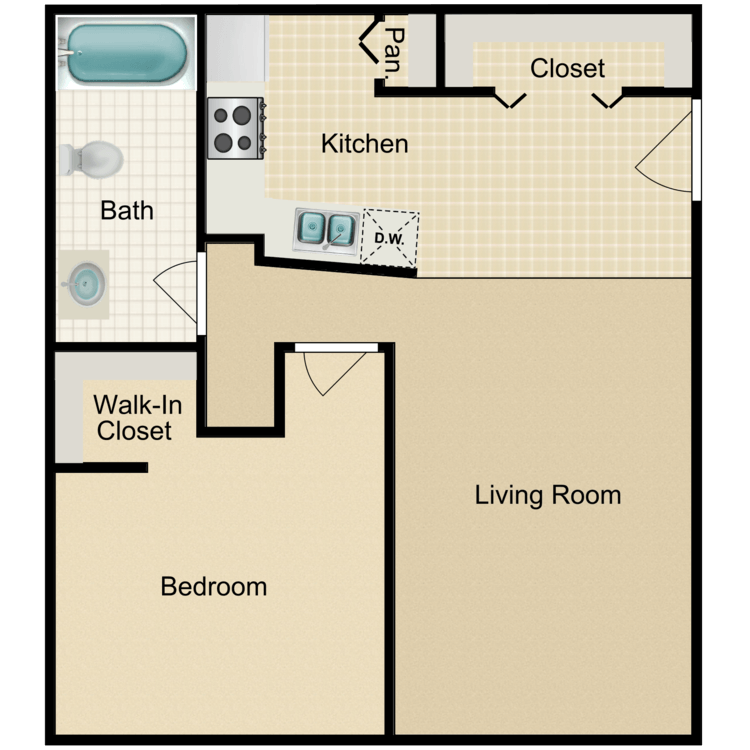 Floor plan image of 1 Bedroom Flat