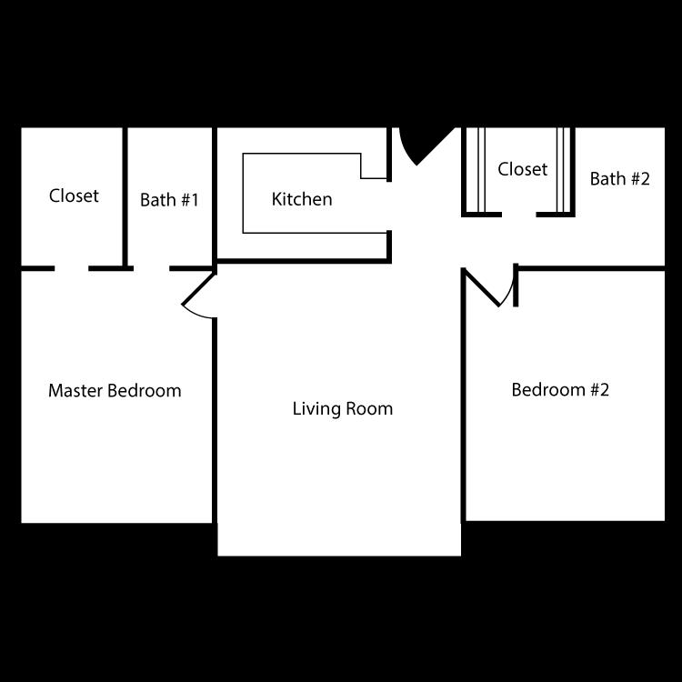 Floor plan image of Plan A 2 Bed 2 Bath