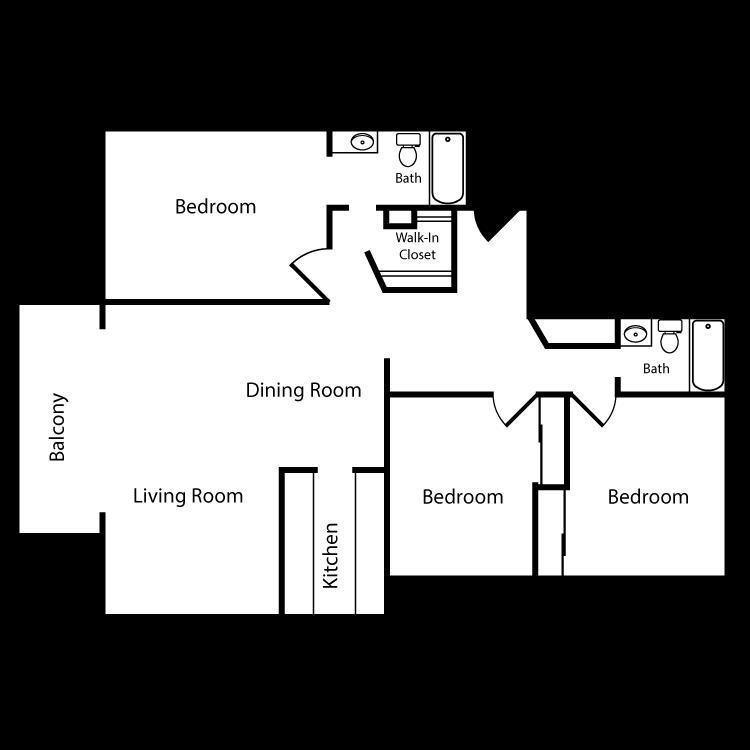 Floor plan image of Plan B 3 Bed 2 Bath