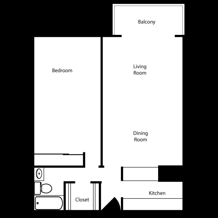 Floor plan image of Plan D-E-H 1 Bed 1 Bath