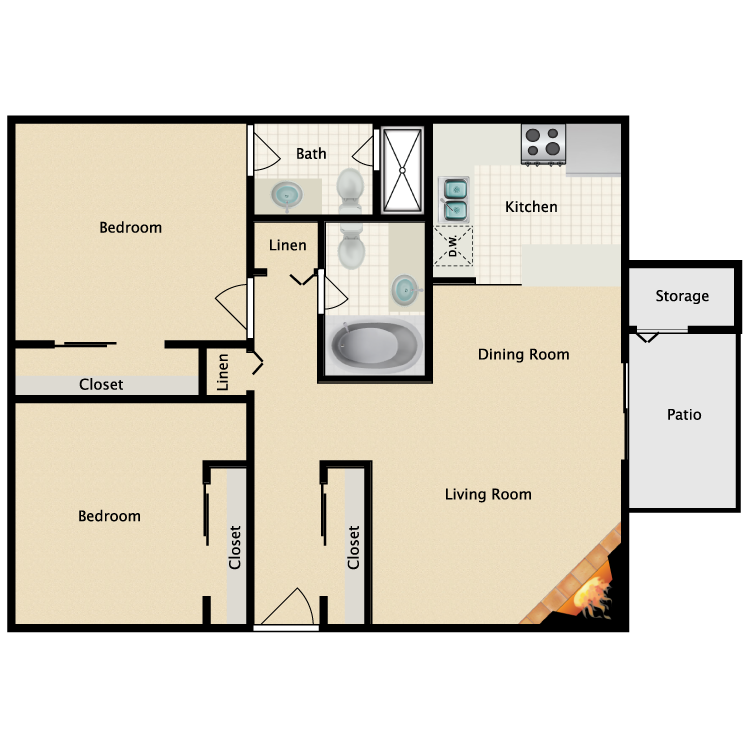 2 Bed 2 Bath A floor plan image