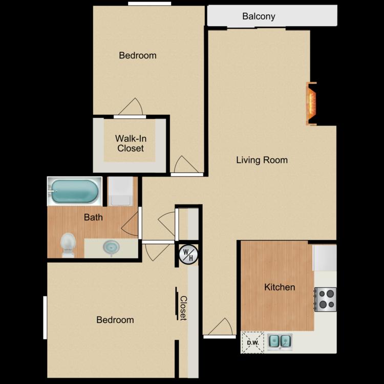 Floor plan image of 2 Bed 1 Bath G