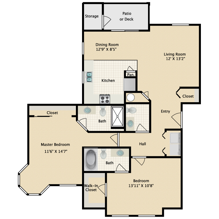 Floor plan image of 2 Bed 2.5 Bath B