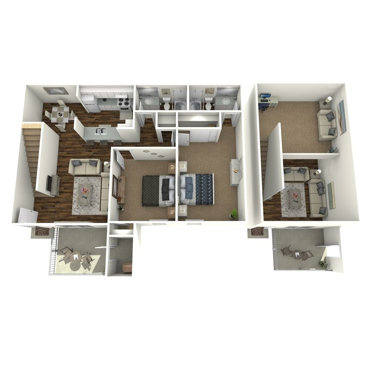 Floor plan image of Two Bed Two Bath with Loft