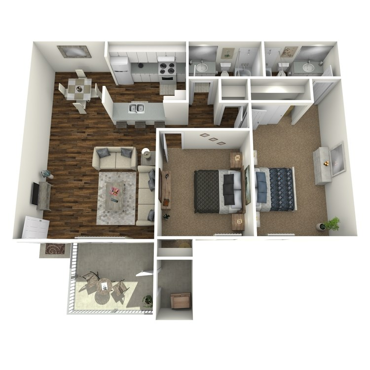 Floor plan image of Two Bed Two Bath B