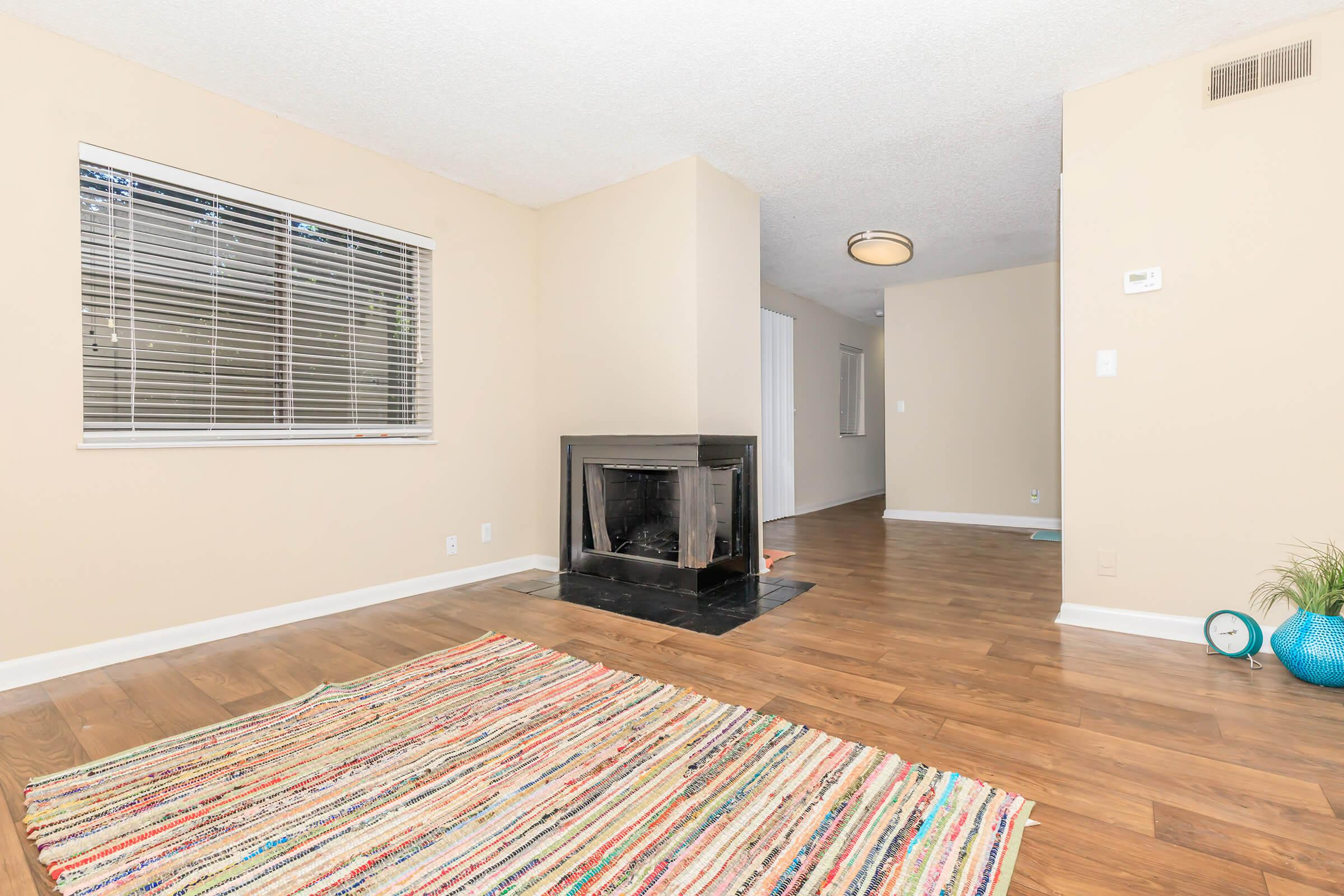 Wood burning fire place in living room