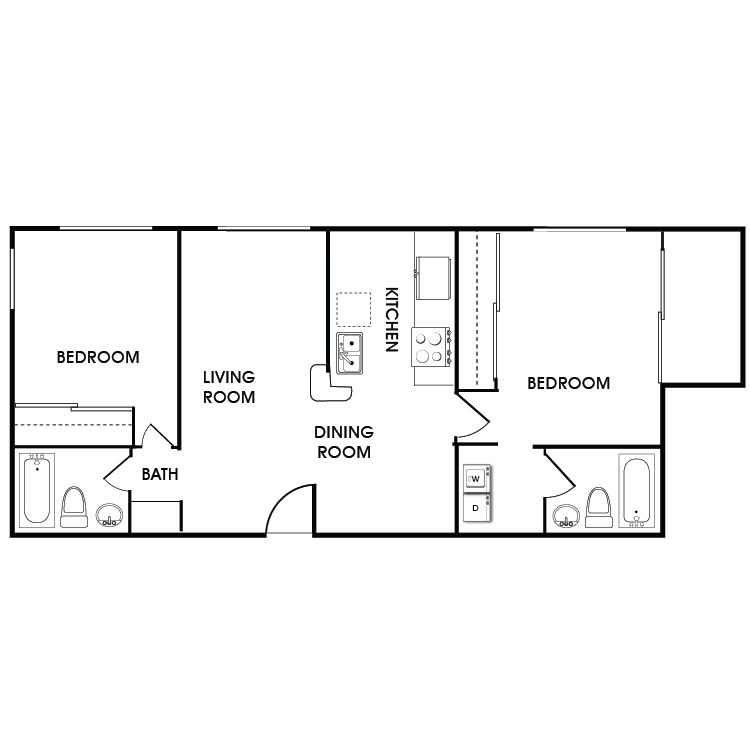 Floor plan image of 2 Bed 2 Bath Floor Plan D
