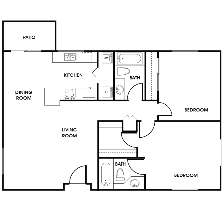 Floor plan image of 2 Bed 2 Bath Floor Plan B