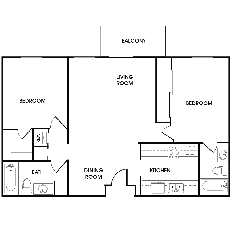 Floor plan image of 2 Bed 2 Bath Floor Plan C