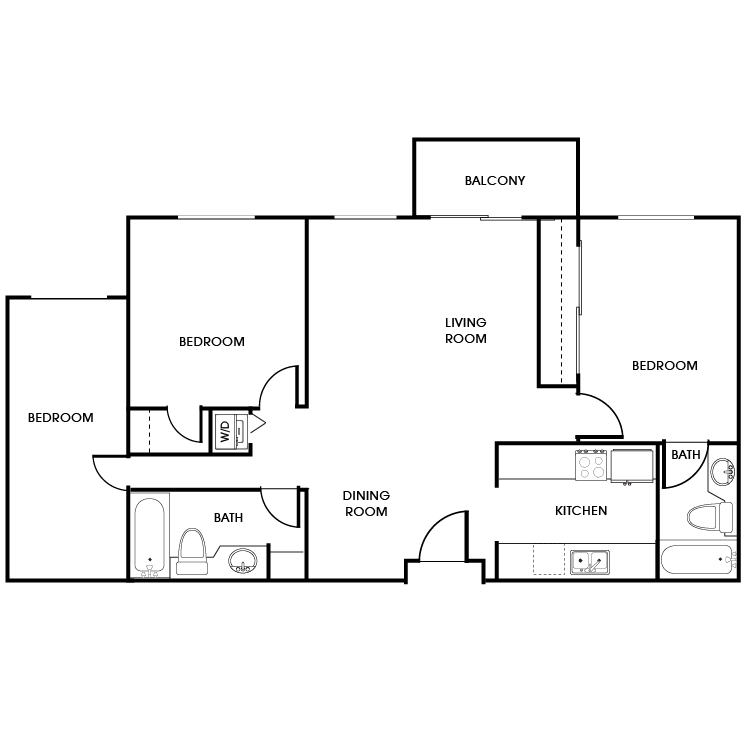 Floor plan image of 3 Bed 2 Bath Floor Plan E