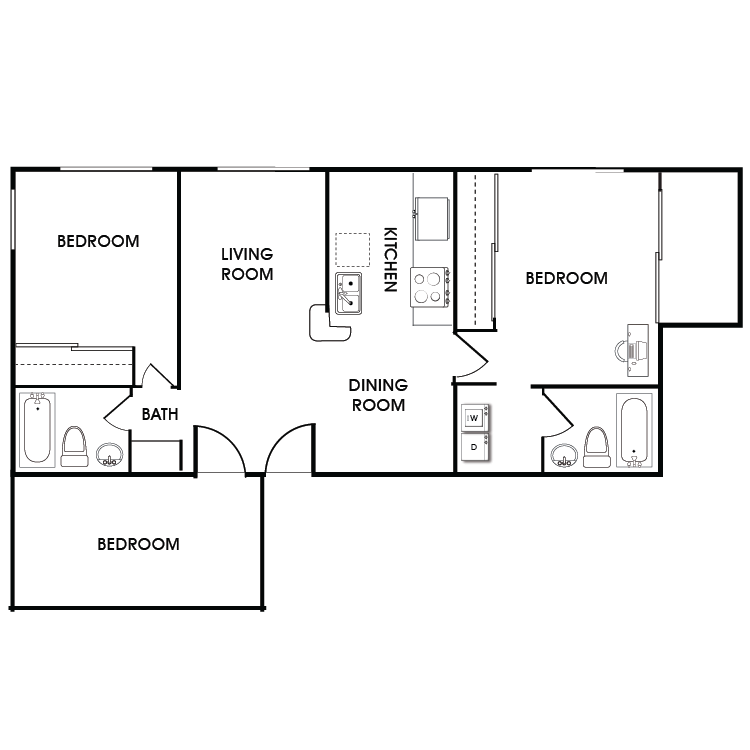 Floor plan image of 3 Bed 2 Bath Floor Plan F