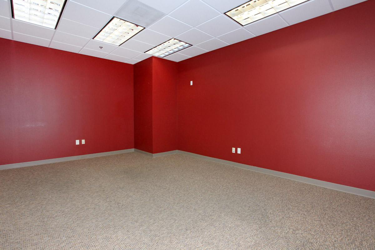 a room with red walls