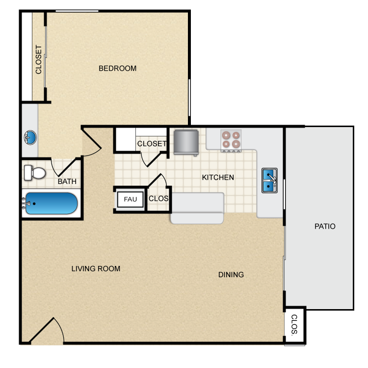Woodcrest- 1 Bed 1 Bath floor plan image