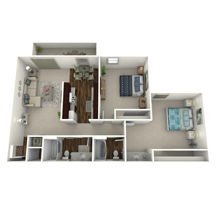 Floor plan image of Timbers- 2 Bed 2 Bath