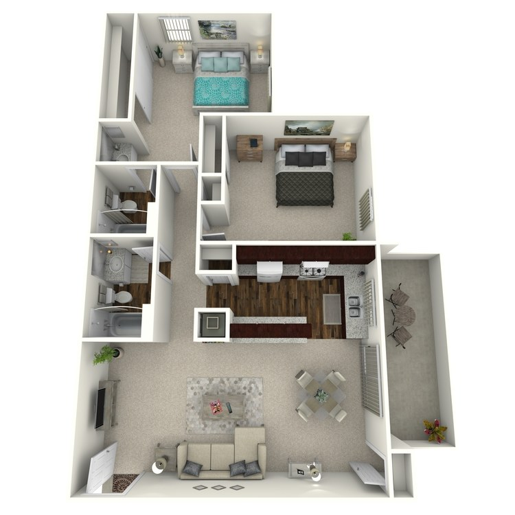 Floor plan image of Woodcrest- 2 Bed 2 Bath