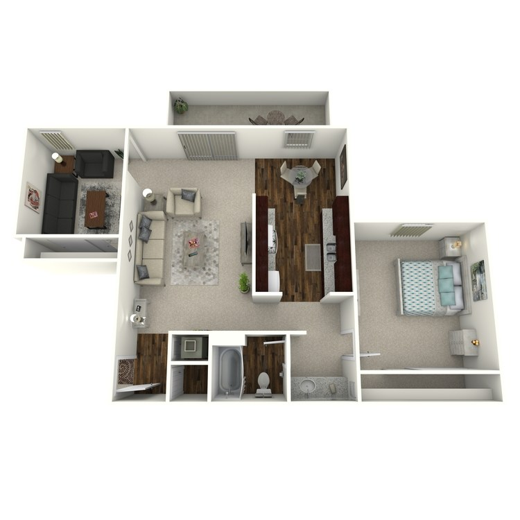 Floor plan image of Timbers- 1 Bed 1 Bath with Den