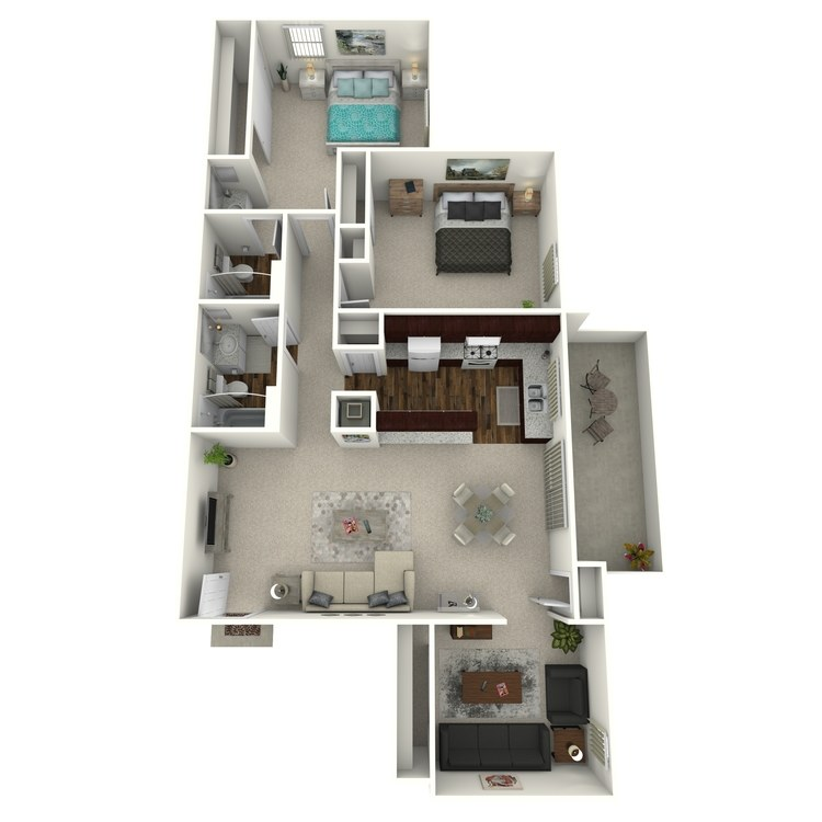 Floor plan image of Woodcrest- 2 Bed 2 Bath with Den
