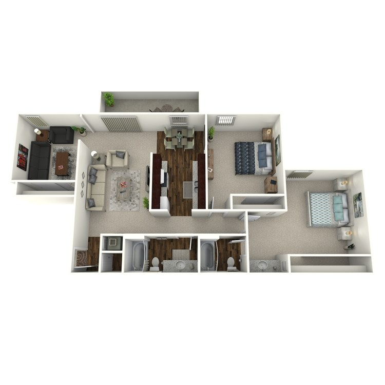 Floor plan image of Timbers- 2 Bed 2 Bath with Den