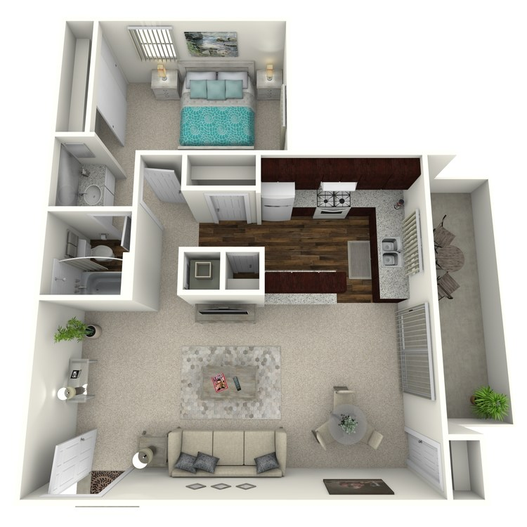 Floor plan image of Woodcrest- 1 Bed 1 Bath