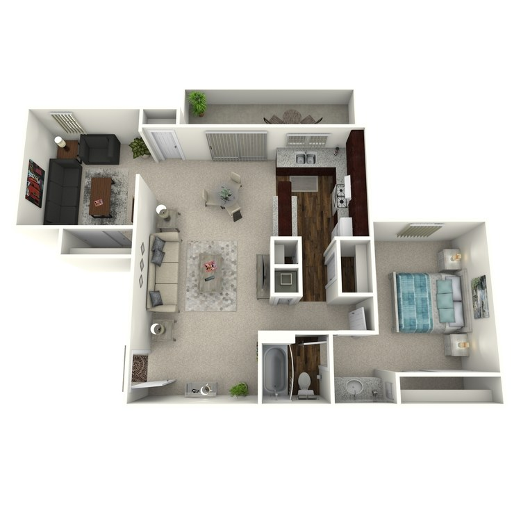 Floor plan image of Woodcrest- 1 Bed 1 Bath with Den
