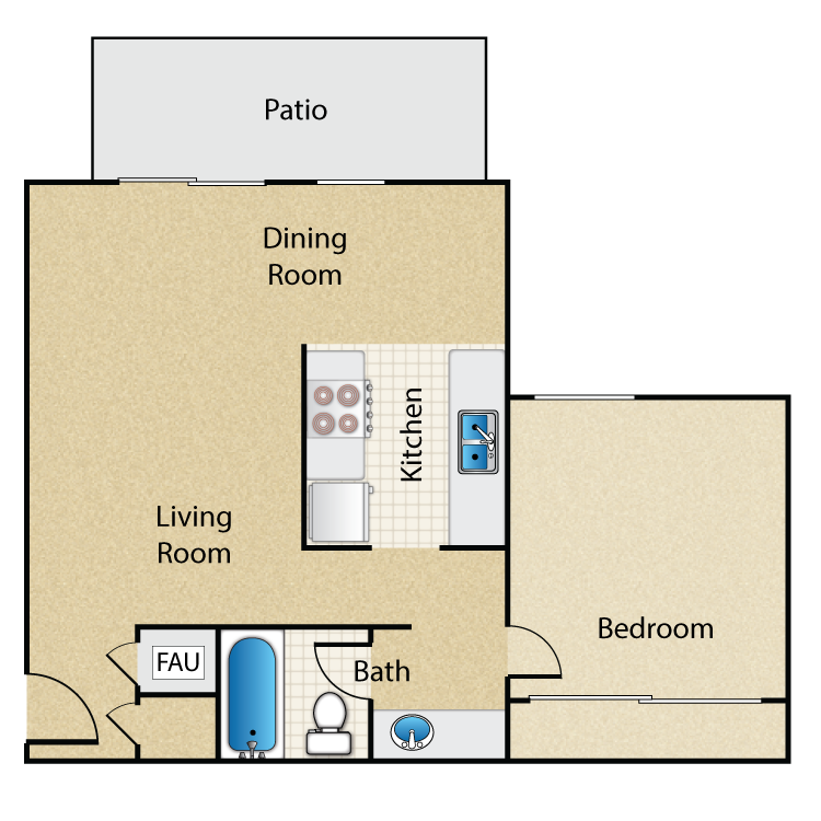 Timbers- 1 Bed 1 Bath floor plan image