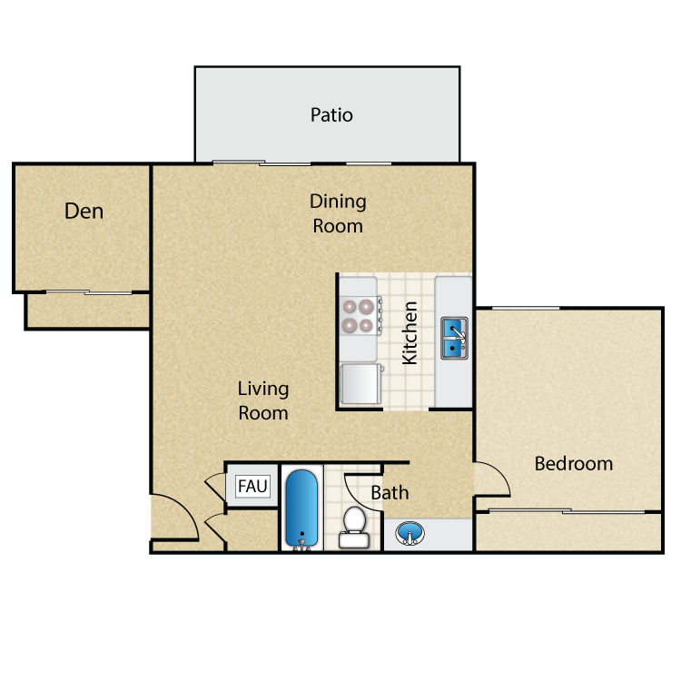 Timbers- 1 Bed 1 Bath with Den floor plan image