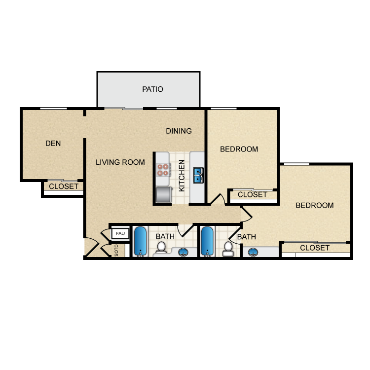 Timbers- 2 Bed 2 Bath With Den floor plan image