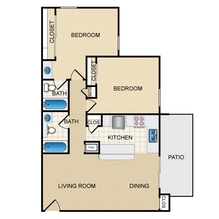 Woodcrest- 2 Bed 2 Bath floor plan image