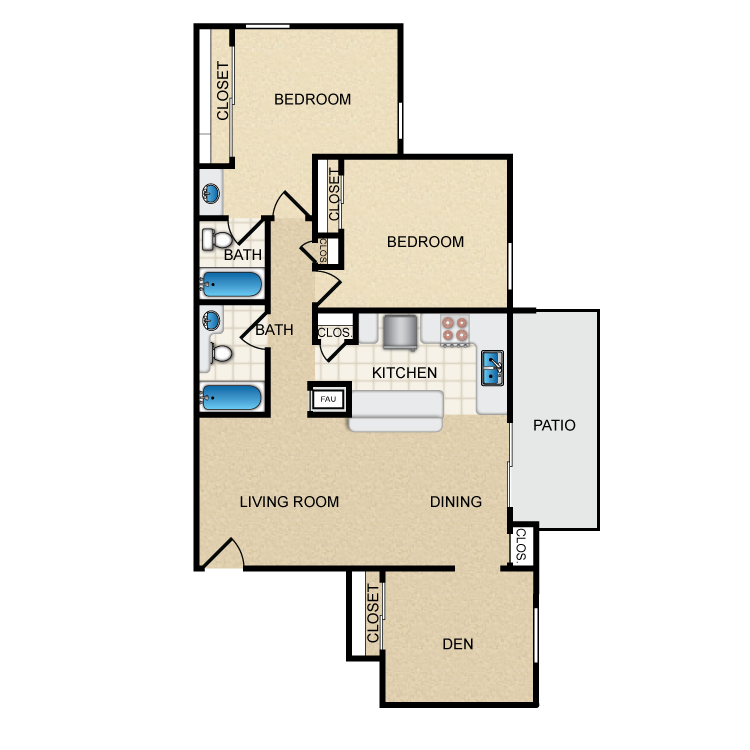 Woodcrest- 2 Bed 2 Bath With Den floor plan image