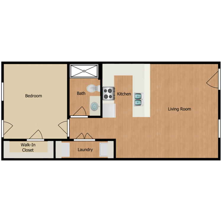 One Bed One Bath floor plan image