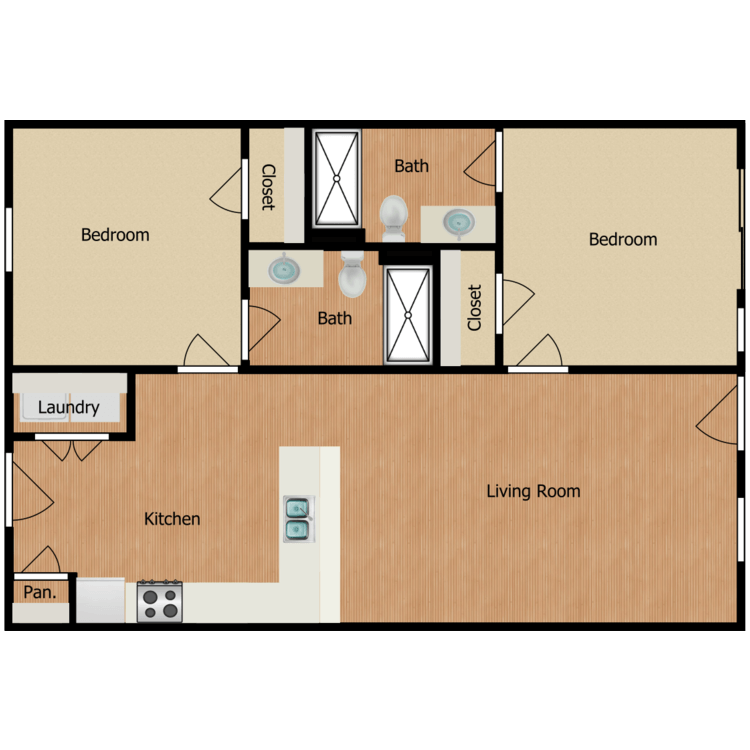 Two Bed Two Bath floor plan image