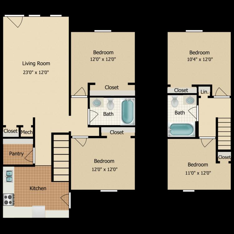 Floor plan image of Four Bedroom Townhome