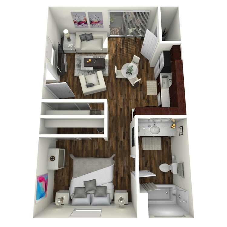 Floor plan image of 1 Bed 1 Bath JR