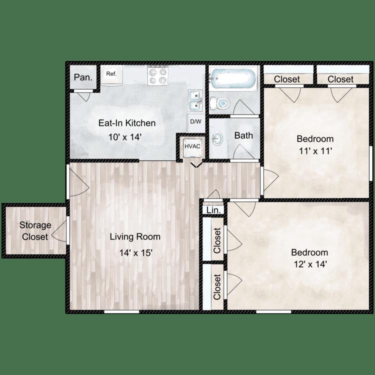 Floor plan image of Belaire 2 Bedroom