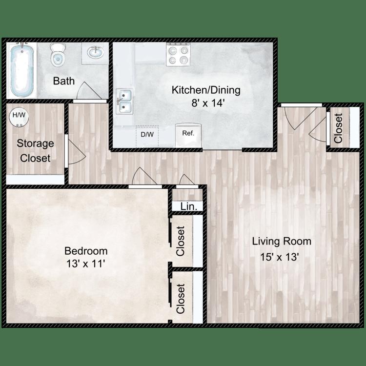 Floor plan image of Concord 1 Bedroom