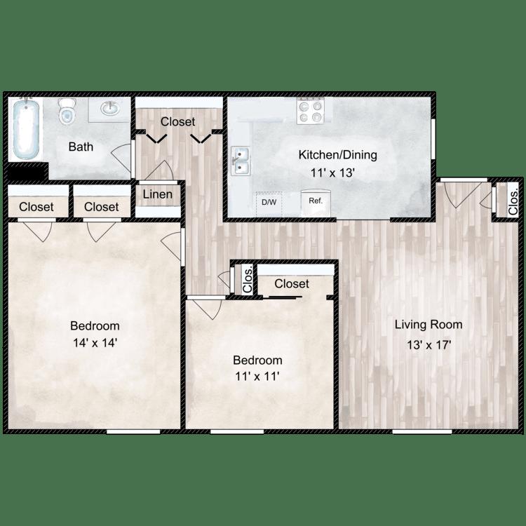 Floor plan image of Heritage 2 Bedroom