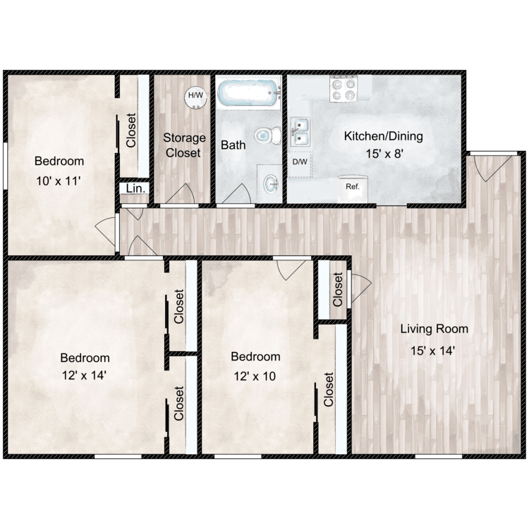 Floor plan image of Kenwood 3 Bedroom