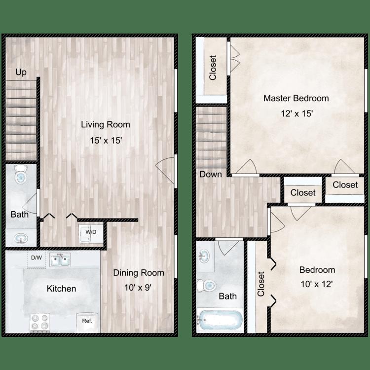 Floor plan image of Liberty 2 Bedroom Townhome