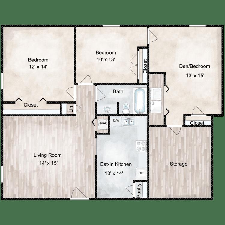 Floor plan image of Millstone 3 Bedroom