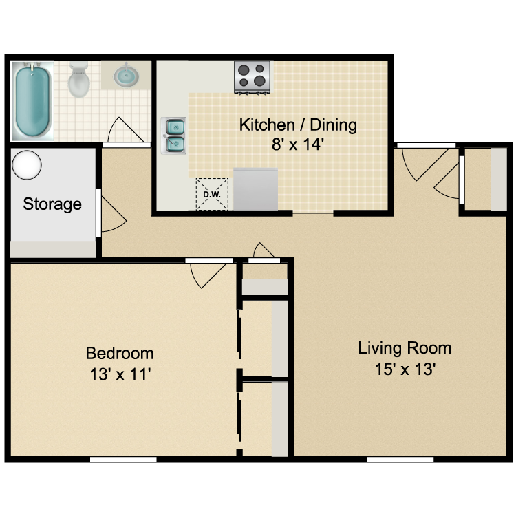 Floor plan image of Parkside 1 Bedroom