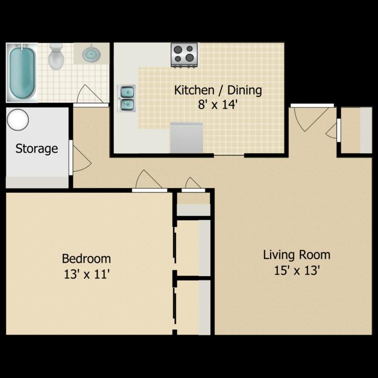Floor plan image of Parkside 1 Bedroom