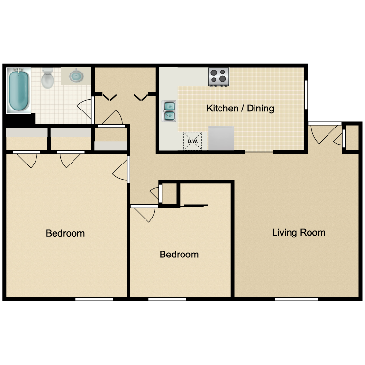 Floor plan image of Parkside 2 Bedroom